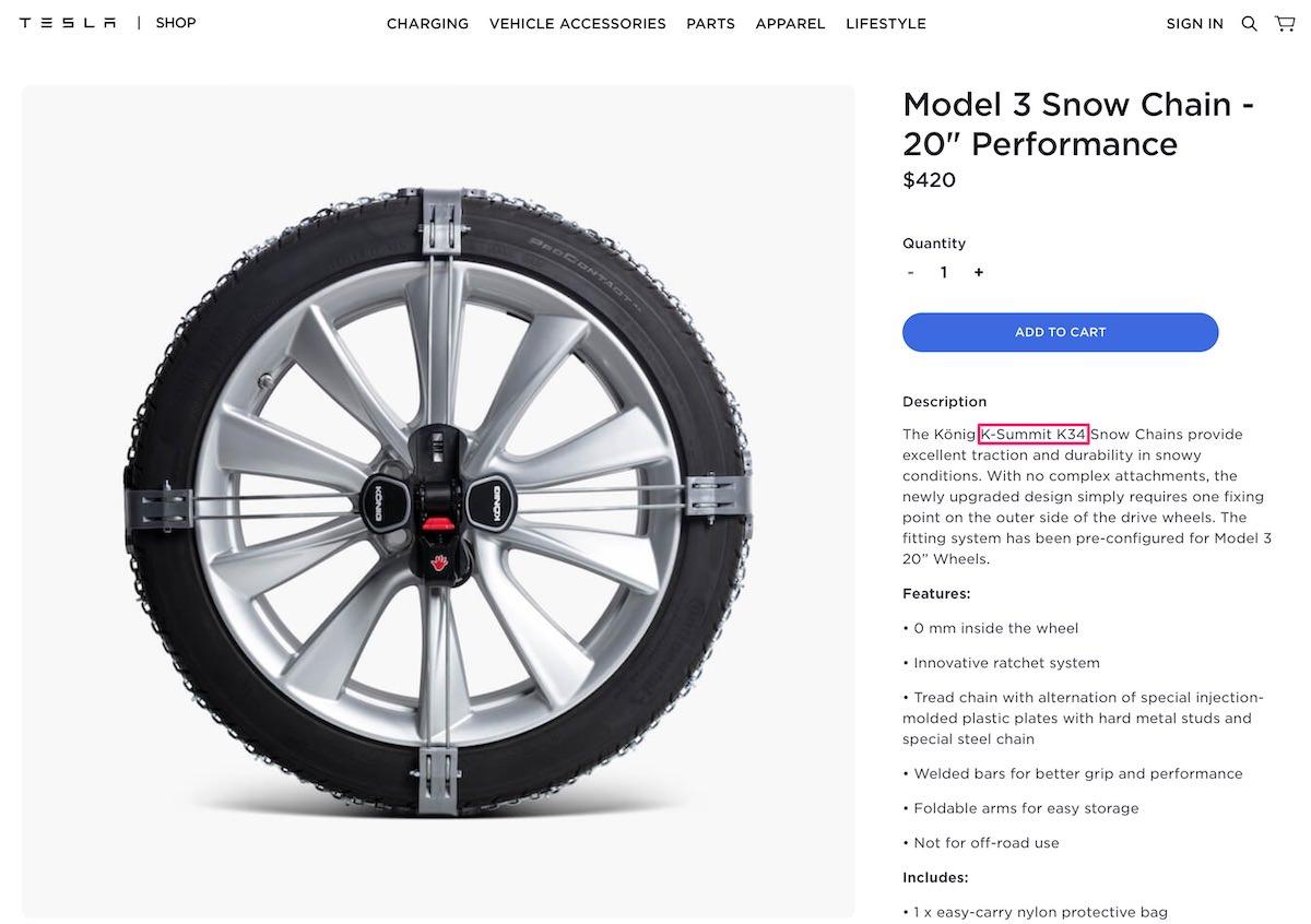 Model 3 Snow Chain 20 Performance